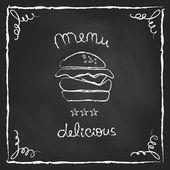 Chalkboard burger menu — ストックベクタ