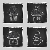 Cute set of bright cupcakes and cup of coffee on chalkboard back — Stock vektor