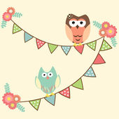 Cute owls hanging in flags — Stock Vector