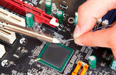 Repair of electronic components — Stock Photo