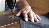 Sewing machine handiwork — Stock Photo