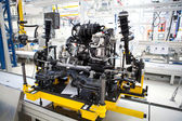 Car engine assembled standing on the factory production line — Stock Photo