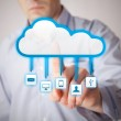 Man interacting with cloud service applications — Stock Photo
