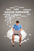 Social networking on the cloud — Stock Photo