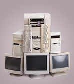 Stack of old computer — Stock Photo