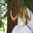 Bride near trees — Stock Photo