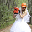 Crazy bride in white dress — Stock Photo
