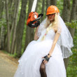 Crazy and sexy  bride in park — Stock Photo