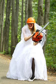 Crazy bride in park — Stock Photo