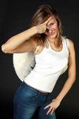 Giovane donna con le ali bianche — Foto Stock