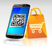 Smartphone shopping QR code — Stock Photo