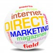 Direct marketing word sphere — Stockvectorbeeld