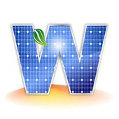 Solar panels texture, alphabet capital letter W icon or symbol — Stock Photo