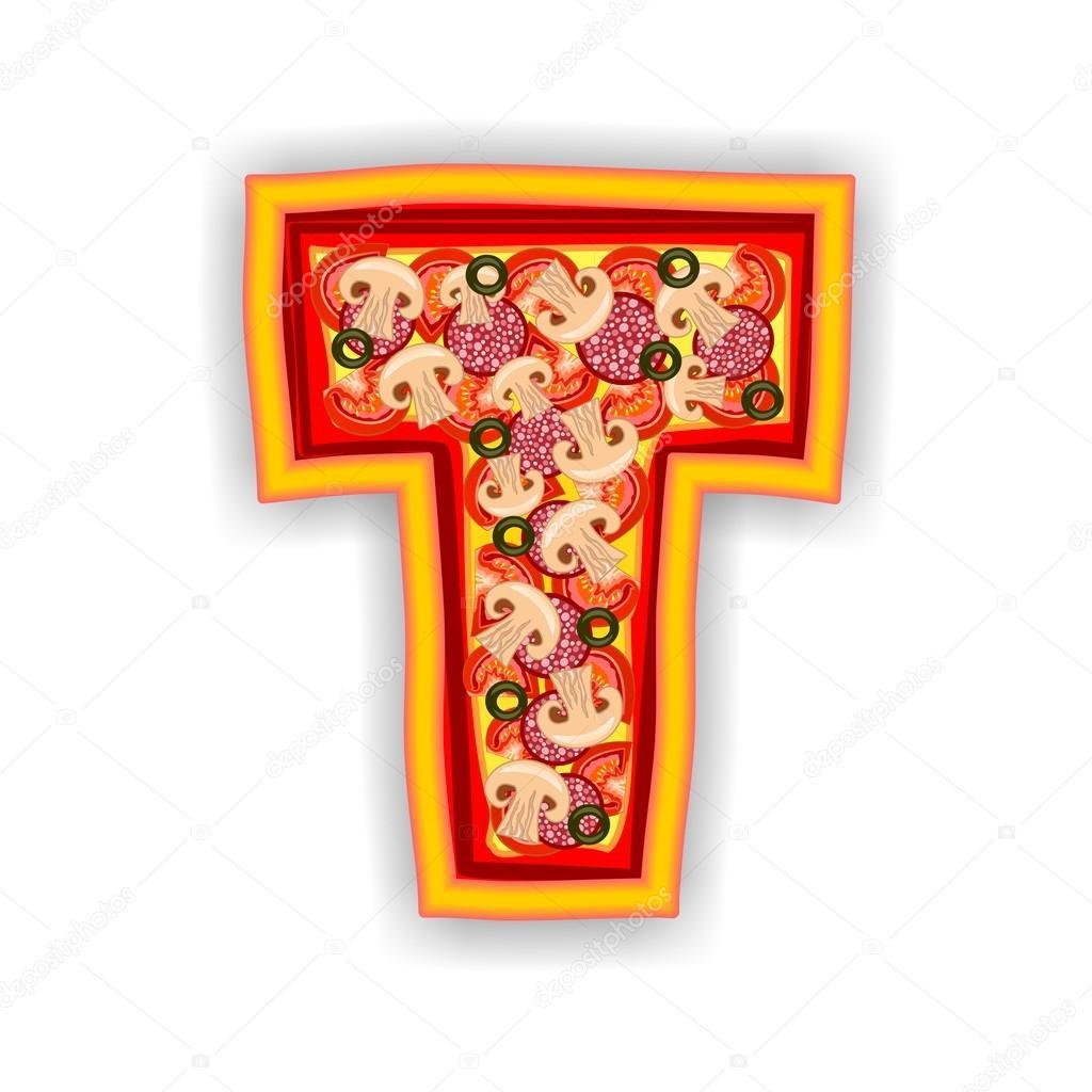 Pizza alphabet letter t stock photo multicanarias for Letter t decoration