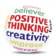 POSITIVE THINKING - wordcloud - SPHERE — Stockfoto