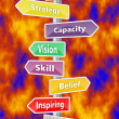 LEADERSHIP wordcloud as colored signpost, sunset sky and clouds — Stockfoto