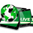 mobile tv soccer — Stock Photo