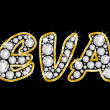 The name Eva spelled in bling diamonds, with shiny, brilliant golden frame — Stock Photo