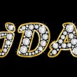 Постер, плакат: The name Ida spelled in bling diamonds with shiny brilliant golden frame
