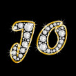 Stockfoto: Name Jo spelled in bling diamonds, with shiny, brilliant golden frame