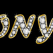 The name Tonya spelled in bling diamonds, with shiny, brilliant golden frame — Stock Photo