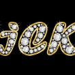 The name Vicki spelled in bling diamonds, with shiny, brilliant golden frame — Стоковая фотография