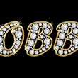 Stockfoto: Name Bobby spelled in bling diamonds, with shiny, brilliant golden frame