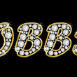 Stockfoto: Name Bobbie spelled in bling diamonds, with shiny, brilliant golden frame