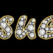 Stock Photo: Name Sue spelled in bling diamonds, with shiny, brilliant golden frame