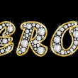 Stock Photo: Name Leroy spelled in bling diamonds, with shiny, brilliant golden frame