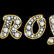 The name Troy spelled in bling diamonds, with shiny, brilliant golden frame — Stock Photo