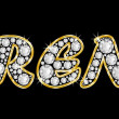 The name Brent spelled in bling diamonds, with shiny, brilliant golden frame — Foto Stock