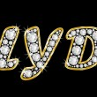 The name Clyde spelled in bling diamonds, with shiny, brilliant golden frame — Foto Stock