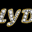 Постер, плакат: The name Clyde spelled in bling diamonds with shiny brilliant golden frame