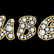 The name Ruben spelled in bling diamonds, with shiny, brilliant golden frame — Stock Photo