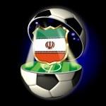 Постер, плакат: Open soccer ball with crest of Iran