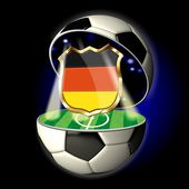 Open soccer ball with crest of Germany — Stock Photo