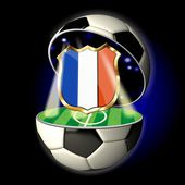 Open soccer ball with crest of France — Stock Photo