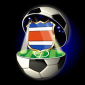 Open soccer ball with crest of Costa Rica — Stock Photo