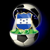 Open soccer ball with crest of Honduras — Stock Photo