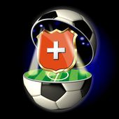 Open soccer ball with crest of Switzerland — Stock Photo
