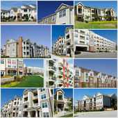 Collage of multiple apartment buildings — Stock Photo
