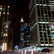 Night scene of american city downtown. Raleigh, NC — Stockfoto