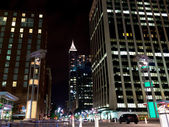 Night scene of american city downtown. Raleigh, NC — Stock Photo