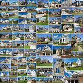 Photo collage of multiple suburban homes — Stock Photo