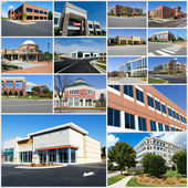 Multiple suburban commercial buildings — Stok fotoğraf