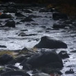 Stock Video: Evening river flows through rocks.