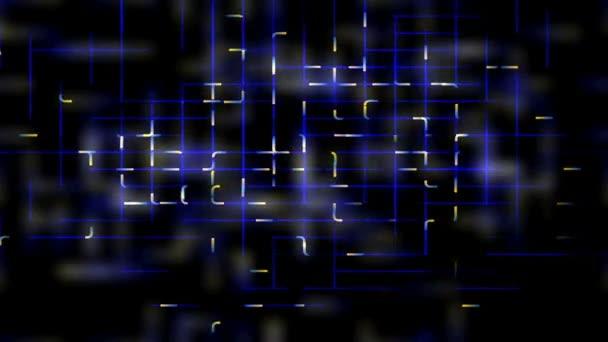 Feux blancs se déplacer sur un quadrillage bleu. — Vidéo