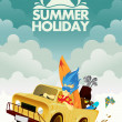 Stock Vector: Driving for Summer Holiday