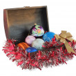 Christmas toys in a box — Stock Photo